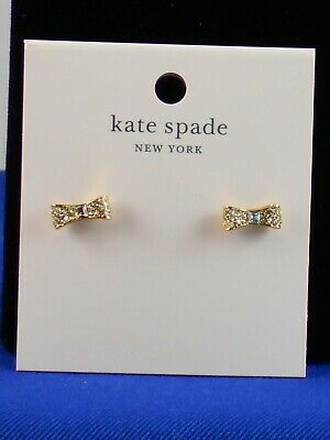 $ CDN37.53 • Buy Kate Spade Gold Plate READY SET BOW Pave' Bow Stud Earrings O0RU1559 $39