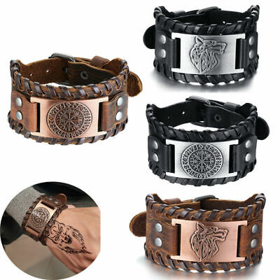 Mens Viking Wide Genuine Leather Vegvisir/Mjolnir/Dragon/Wolf Bracelet Wristband • 7.95£