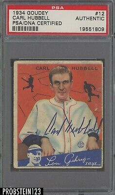 $26.55 • Buy 1934 Goudey #12 Carl Hubbell Signed AUTO New York Giants PSA/DNA