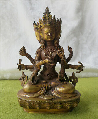 $ CDN49.36 • Buy Antiques Patina Bronze Magical Buddha Bodhisattva Old Carved Lucky Statue