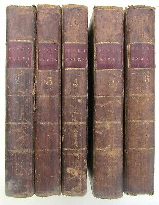 $149.99 • Buy 1787 5 VOLUMES LOT WORKS OF ALEXANDER POPE Leather Bound Antique