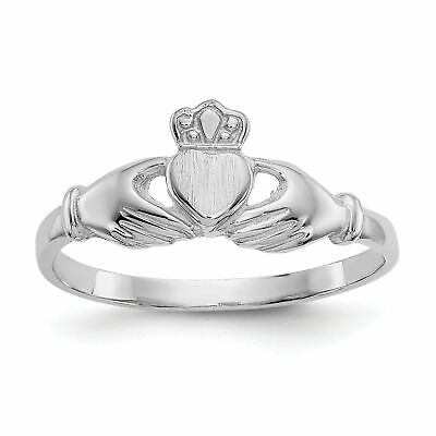 $116.12 • Buy 14k White Gold Polished And Satin Claddagh Ring K572
