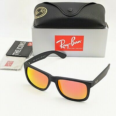 AU65.90 • Buy RayBan Justin Classic POLARIZED Sunglasses - Black Red Mirror - RB4165 54-16