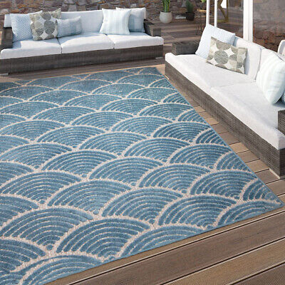Geometric Teal Rug - Coastal Washable Small Large Rugs Long Lasting Outdoor Mat • 11.95£