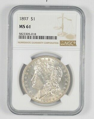 $26 • Buy MS61 1897 Morgan Silver Dollar -Graded NGC *241