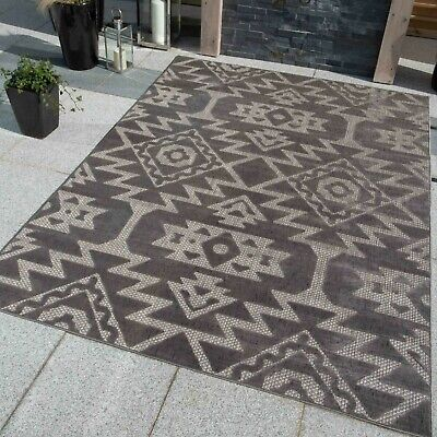 Grey Tribal Washable Rug Geometric Indoor Outdoor Rugs Easy Clean Flatweave Mat • 39.95£
