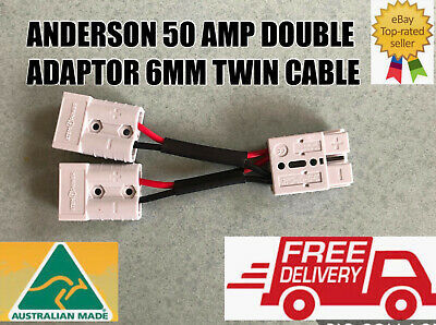 AU15.79 • Buy  Anderson Style Plug 50 Amp Connector Double Y Adaptor 6mm Auto Tycab Cable