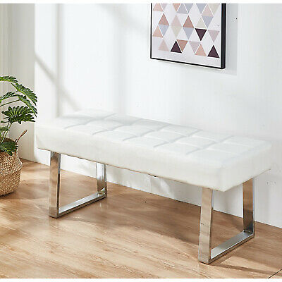£99.99 • Buy Dining Bench Long Seat Chairs White Faux PU Leather Lounge Stool Base Steel Home