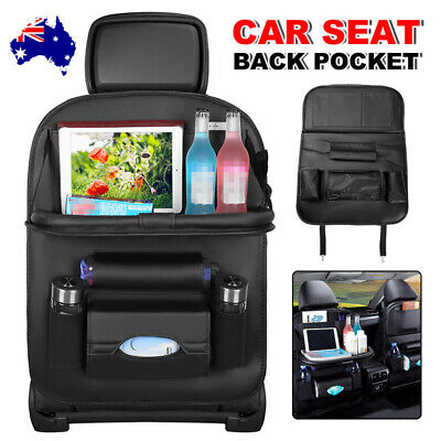 AU25.95 • Buy Foldable Car Back Seat Organiser Leather Storage Bag Table Tray IPad Cup Holder
