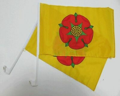 LANCASHIRE RED ROSE Car Window Flag 2 Pack.  FREE UK Delivery! • 11.99£