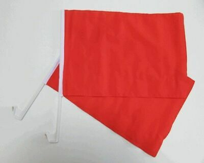 PLAIN RED Car Window Flag 2 Pack.  FREE UK Delivery! • 11.99£