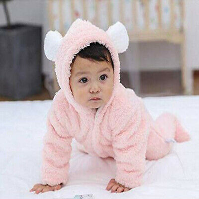 AU17.78 • Buy Infant Baby Boy Girl Cotton Rabbit Hooded Romper Jumpsuit Outfits Clothes CP