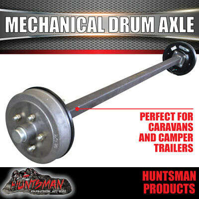 AU410 • Buy 45mm Square Mechanical Drum Braked Trailer Axle. 1400Kg Rated 64 -77  Assembled