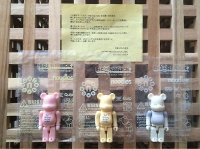 $149 • Buy Rare BE@RBRICK 100% Noodles Quip Pink Yellow Gray Bearbrick Lot Of 3 Medicom Toy