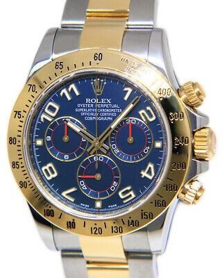 $ CDN23190.71 • Buy Rolex Daytona 18k Yellow Gold/Steel Blue Dial Mens 40mm Watch Box/Papers 116523