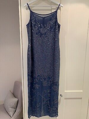 £75 • Buy After Six By Ronald Joyce Blue Sequin Dress. Size 14.