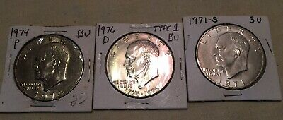 $19.95 • Buy Eisenhower One DOLLAR Coins 1971-s,1974-P, 1976-D Type 1 Uncirculated
