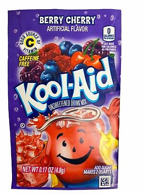 24 Cherry Kool-Aid Drink Mix Gluten Free Unsweetened Fresh BB 2021 • 6.45£