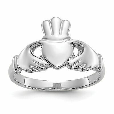 $158.79 • Buy 10k White Gold Polished Claddagh Ring 10WC21