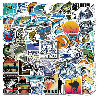 $4.99 • Buy 50Pcs Fishing Stickers Vinyl Decals For Laptop Car Water Bottle Guitar Luggage