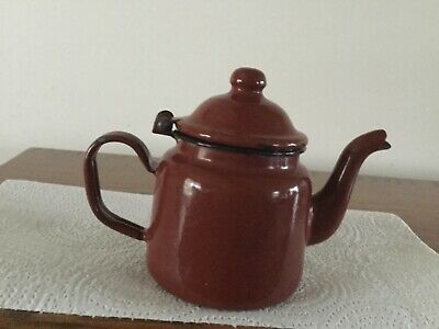 $19.88 • Buy Vintage Brown Enamel Tea Pot Kettle Small 4.5  Individual Teapot Hinged Lid