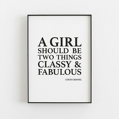 A Girl Should Be Classy & Fabulous Coco Chanel Quote Typography Print Poster V2 • 4.99£