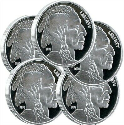 $ CDN187.87 • Buy Lot Of 5 - Mason Mint 1 Oz Silver Buffalo Round 999 Fine Silver