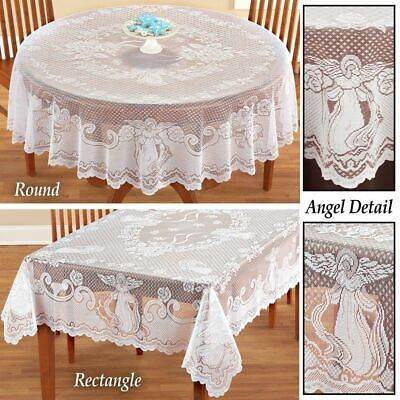 $19.49 • Buy Antique Lace White Tablecloth Rectangle Round Table Cloth Cover Home Party Decor