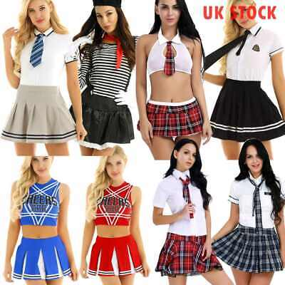 Women Lingerie School Girl Uniform Costume Outfit Top Mini Skirt Cheer Leader UK • 18.19£