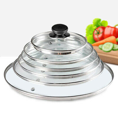 Glass Lid Cover Replacement Vented Frying Pan Saucepan Casserole Wok 14 - 40 Cm • 3.99£