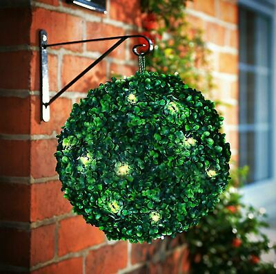 2 X 28CM Stunning Solar Power Topiary Ball 20 LED Green Lights Garden Hanging  • 20.95£