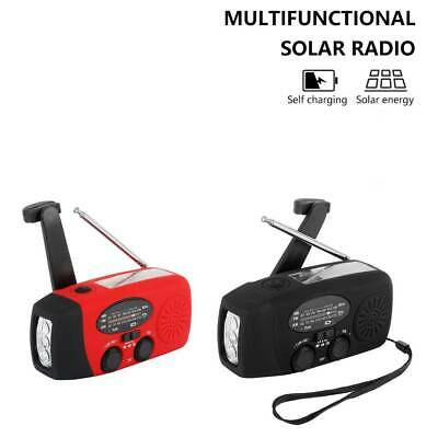 Black / Red Solar Power Radio Portable Wind Up USB LED Light AM FM Rechargeable • 13.19£