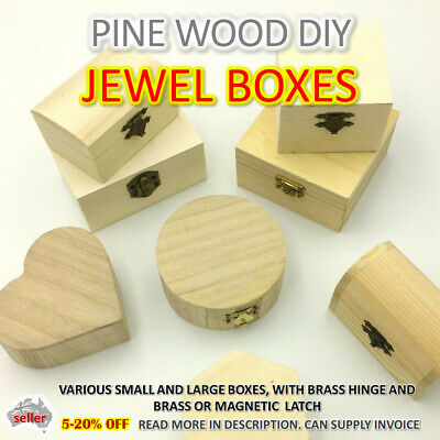AU8 • Buy CRAFT WOODEN STORAGE BOX Memory Jewelry Plain Treasure Chest Natural DIY AUSSIE