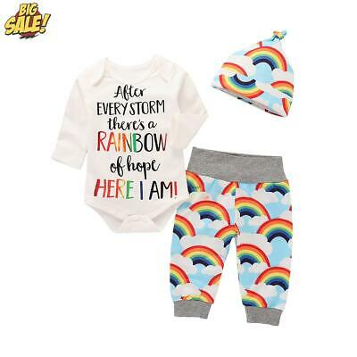 Newborn Infant Baby Boys Girls Rainbow Romper Pants Trousers Outfits Clothes Set • 8.49£