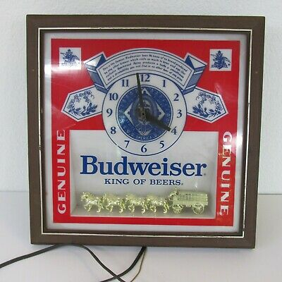 $ CDN94.73 • Buy Budweiser Deluxe Label Wall Sign Clock Plug In Pull Chain Gold Tone Clydesdales