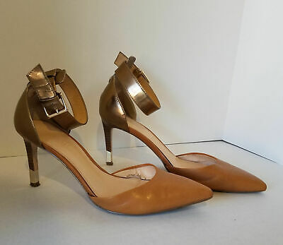 $ CDN36.26 • Buy Size 7 1/2 IVANKA TRUMP Pointy Toe Brown Leather Heels Shoes Stacked Stilleto