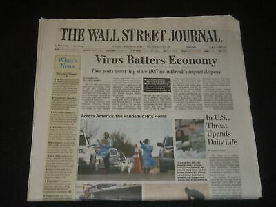 $21 • Buy 2020 March 13 The Wall Street Journal Newspaper - Virus Batters Economy - 1987