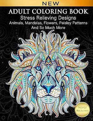 $9.99 • Buy 128 Pages Adult Coloring Book Stress Relief Designs For Adults Relaxation Gift