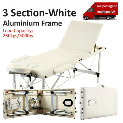 Portable 3 Fold Massage Table Beauty Bed Massage Therapy Couch Facial SPA White • 69.99£