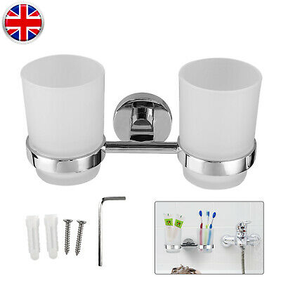Wall Mounted Double Tumbler Cup Chrome Toothbrush Holder For Bathroom/Lavatory • 10.99£