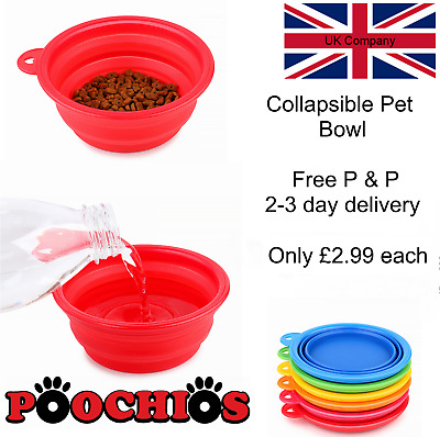 Collapsible Pet Dog Cat Feeding Bowl Pop Up Compact Travel Silicone Dish Feeder • 2.99£