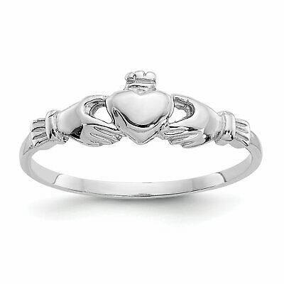 $58 • Buy 14K White Gold Claddagh Ring Sz 4