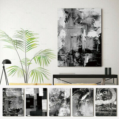 $9.96 • Buy Abstract Black And White Canvas Painting Poster Print Wall Art Pictures Decor