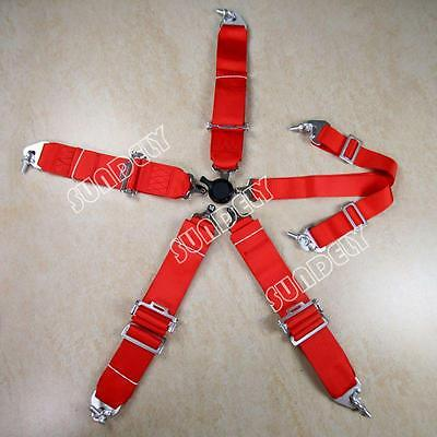 Racing Seat Harness Belt Quick Release 3Inch 4 5 6 Point Eye Bolts (Red) UK • 44.81£