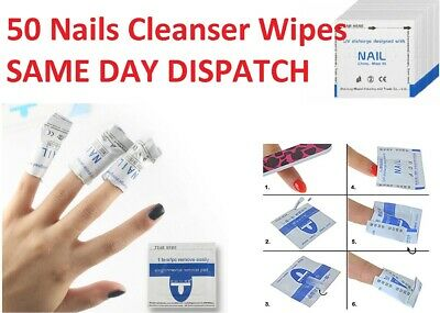 50 WIPES UV LED Gel Nails Cleanser Wipes Prep Wipe Alcohol Gel Polish Nail Wrap  • 3.25£