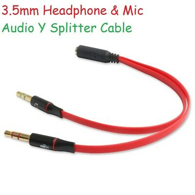 3.5mm Audio Y Splitter Cable Lead Adapter For Mic Microphone Headphone Headset • 2.49£