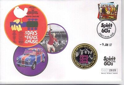 Spirit Of The 60s BEATLES First Day Cover - 2007 Love Love Love Medalion • 7.50£