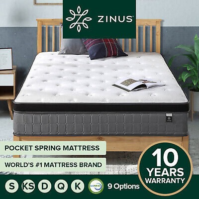 AU189 • Buy Zinus QUEEN DOUBLE KING SINGLE Bed Mattress Euro Top Bed Pocket Spring Zoned