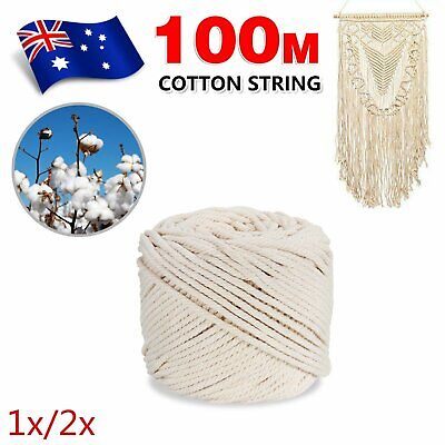 AU30.09 • Buy 100m 4mm Macrame Beige Cord Twisted Rope Hand Craft Cotton String 1/2x Roll
