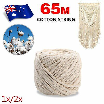AU17.09 • Buy 65m 5mm Macrame Beige Cord Twisted Rope Hand Craft Cotton String 1/2x Roll